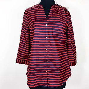 The Limited Red & Navy Blue Stripped Blouse